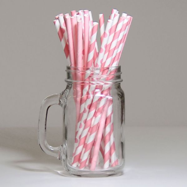 Pack Of 30 Pink Paper Straws